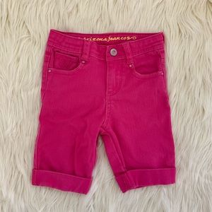Girls Denim Cuffed Bermuda Shorts, Pink, 5 Slim